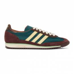 Wales Bonner Green and Burgundy adidas Originals SL72 Sneakers FX7515