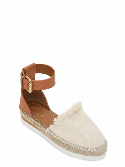 25mm Glyn Leather & Cotton Espadrilles See By Chloe 73IL4L003-MTIw0 - 2