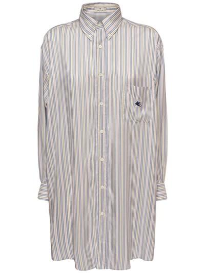 Шёлковая Рубашка-платье Оверсайз В Полоску Etro 73ID4M016-MDI1MA2 - 1
