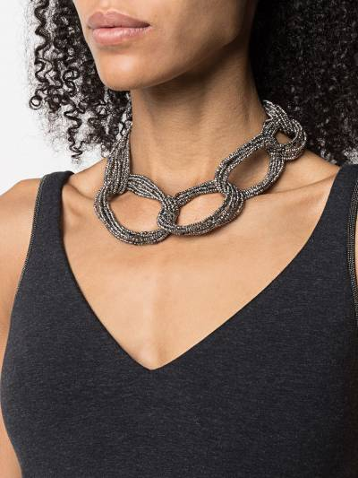 Brunello Cucinelli bead-detail chain-link necklace MCOW9LV34 - 2