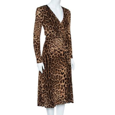 Dolce&Gabbana Brown Leopard Print Wrap Effect Midi Dress XS 360018 - 1