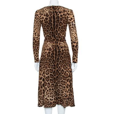 Dolce&Gabbana Brown Leopard Print Wrap Effect Midi Dress XS 360018 - 2