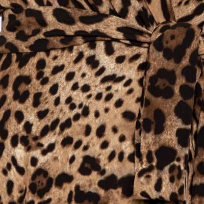 Dolce&Gabbana Brown Leopard Print Wrap Effect Midi Dress XS 360018 - 3