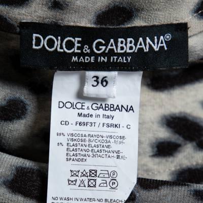 Dolce&Gabbana Brown Leopard Print Wrap Effect Midi Dress XS 360018 - 4