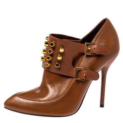 Gucci Brown Leather Alexandra Studded Ankle Boots Size 37.5 360120 - 1