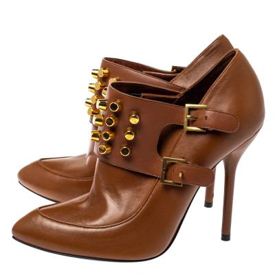 Gucci Brown Leather Alexandra Studded Ankle Boots Size 37.5 360120 - 3