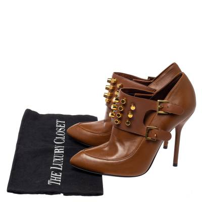 Gucci Brown Leather Alexandra Studded Ankle Boots Size 37.5 360120 - 7