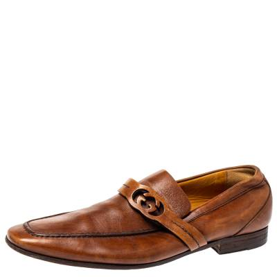 Gucci Brown Leather GG Logo Loafer Size 41.5 360128 - 1