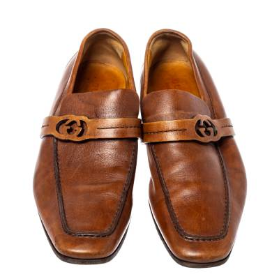 Gucci Brown Leather GG Logo Loafer Size 41.5 360128 - 2