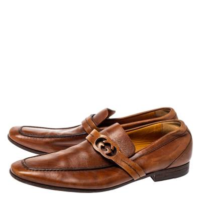 Gucci Brown Leather GG Logo Loafer Size 41.5 360128 - 3
