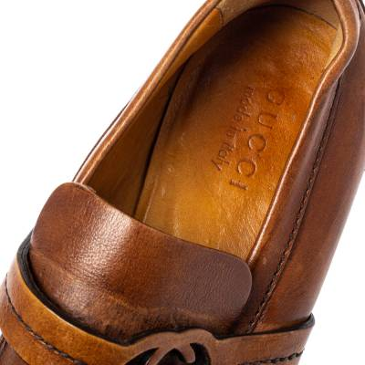 Gucci Brown Leather GG Logo Loafer Size 41.5 360128 - 6