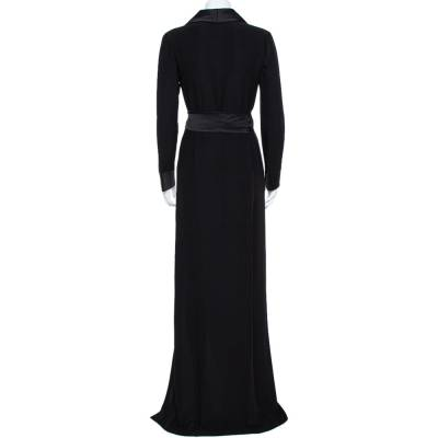 Gucci Black Silk Shawl Lapel Belted Maxi Dress M 358746 - 2