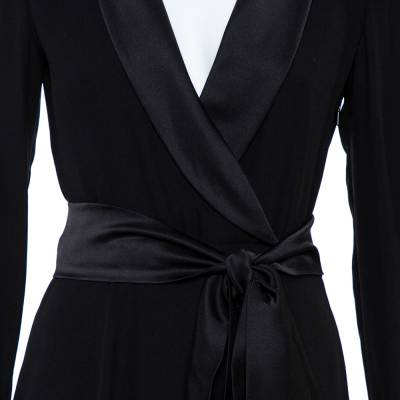 Gucci Black Silk Shawl Lapel Belted Maxi Dress M 358746 - 3