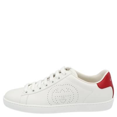 Gucci White Ace Interlocking G Sneakers Size EU 39 359566 - 1