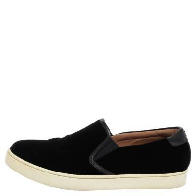 Gianvito Rossi Black Velvet And Leather Trim Slip on Sneakers Size 37.5 357827 - 1