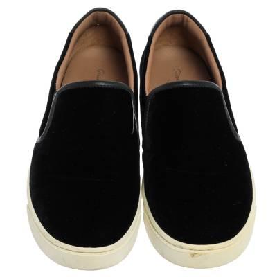 Gianvito Rossi Black Velvet And Leather Trim Slip on Sneakers Size 37.5 357827 - 2