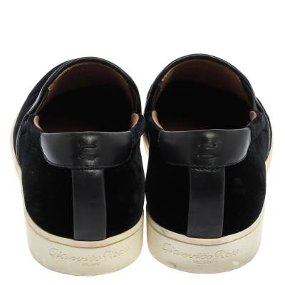 Gianvito Rossi Black Velvet And Leather Trim Slip on Sneakers Size 37.5 357827 - 4