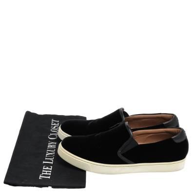 Gianvito Rossi Black Velvet And Leather Trim Slip on Sneakers Size 37.5 357827 - 7
