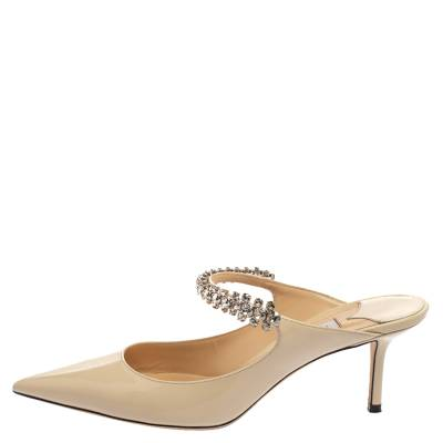 Jimmy Choo White Patent Leather Bing 65 Crystal Embellished Pointed Toe Mule Sandals Size 39 360251 - 1