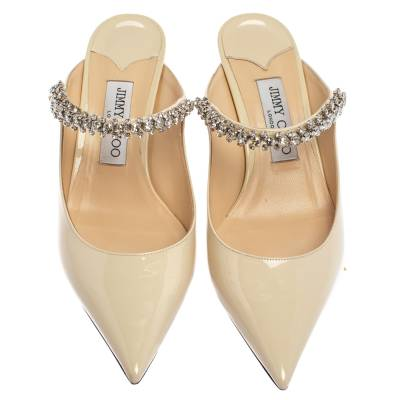 Jimmy Choo White Patent Leather Bing 65 Crystal Embellished Pointed Toe Mule Sandals Size 39 360251 - 2