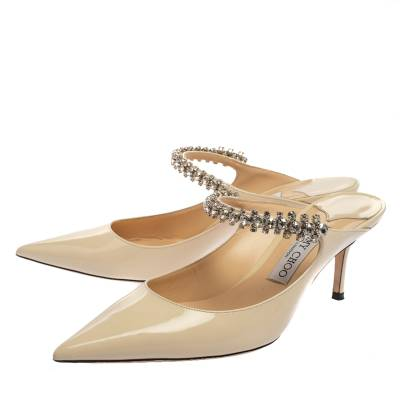 Jimmy Choo White Patent Leather Bing 65 Crystal Embellished Pointed Toe Mule Sandals Size 39 360251 - 3