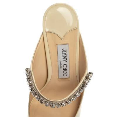 Jimmy Choo White Patent Leather Bing 65 Crystal Embellished Pointed Toe Mule Sandals Size 39 360251 - 6