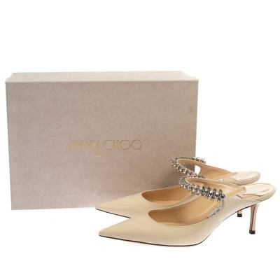 Jimmy Choo White Patent Leather Bing 65 Crystal Embellished Pointed Toe Mule Sandals Size 39 360251 - 7
