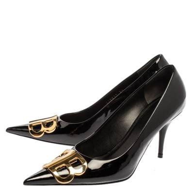 Balenciaga Black Patent Leather BB Knife Pumps Size 39 360252 - 3