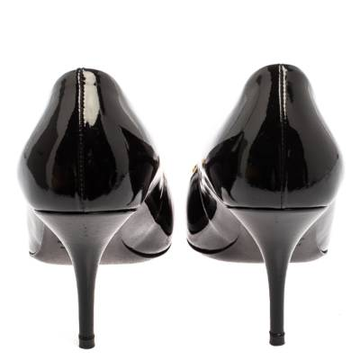 Balenciaga Black Patent Leather BB Knife Pumps Size 39 360252 - 4