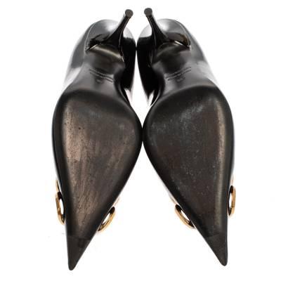 Balenciaga Black Patent Leather BB Knife Pumps Size 39 360252 - 5