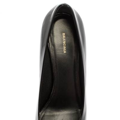 Balenciaga Black Patent Leather BB Knife Pumps Size 39 360252 - 6