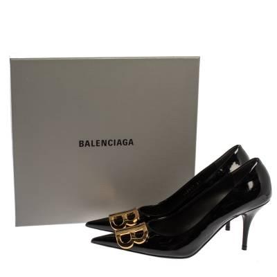 Balenciaga Black Patent Leather BB Knife Pumps Size 39 360252 - 7