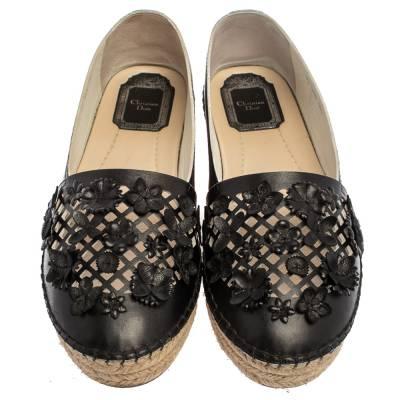 Dior Black Laser Cut Floral Embellished Leather Flore Espadrilles Size 35.5 360256 - 2