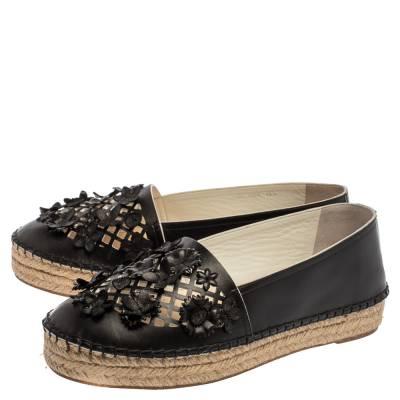 Dior Black Laser Cut Floral Embellished Leather Flore Espadrilles Size 35.5 360256 - 3