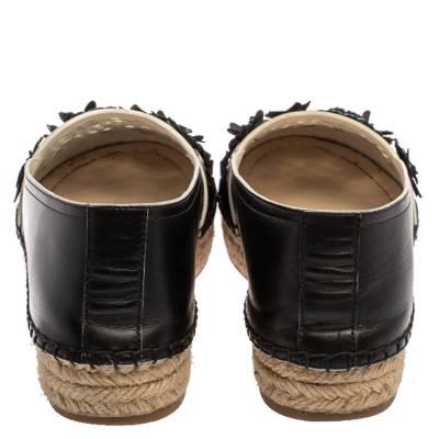Dior Black Laser Cut Floral Embellished Leather Flore Espadrilles Size 35.5 360256 - 4