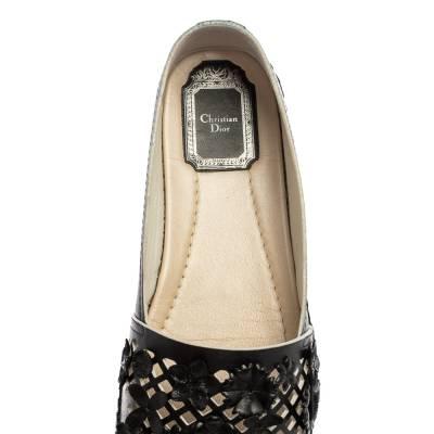 Dior Black Laser Cut Floral Embellished Leather Flore Espadrilles Size 35.5 360256 - 6