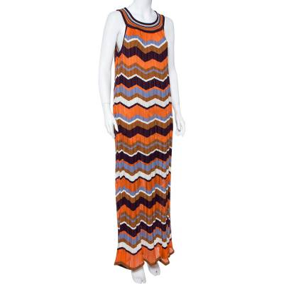 M Missoni Multicolor Zig Zag Pattern Perforated Knit Sleeveless Dress L 360036 - 1