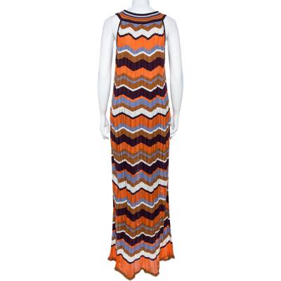 M Missoni Multicolor Zig Zag Pattern Perforated Knit Sleeveless Dress L 360036 - 2
