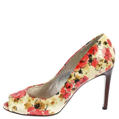 Dolce&Gabbana Multicolor Patent Leather Floral Peep Toe Pumps Size 38 357829 - 1