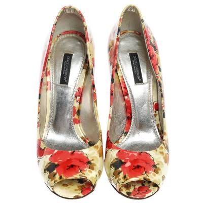 Dolce&Gabbana Multicolor Patent Leather Floral Peep Toe Pumps Size 38 357829 - 2