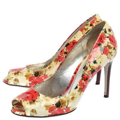 Dolce&Gabbana Multicolor Patent Leather Floral Peep Toe Pumps Size 38 357829 - 3