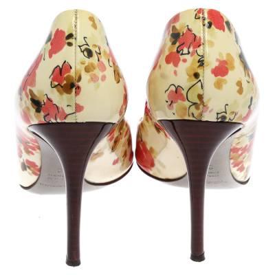 Dolce&Gabbana Multicolor Patent Leather Floral Peep Toe Pumps Size 38 357829 - 4