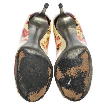Dolce&Gabbana Multicolor Patent Leather Floral Peep Toe Pumps Size 38 357829 - 5