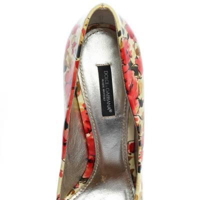 Dolce&Gabbana Multicolor Patent Leather Floral Peep Toe Pumps Size 38 357829 - 6