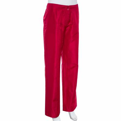 Etro Red Silk Straight Leg Trousers L 359826 - 1