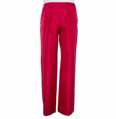 Etro Red Silk Straight Leg Trousers L 359826 - 2