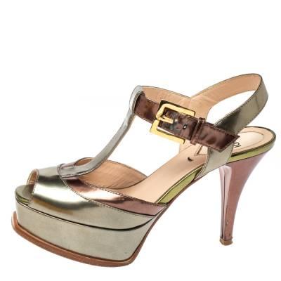 Fendi Metallic Tri Color Fendista Platform T-Bar Ankle Strap Sandals Size 36 360100 - 1