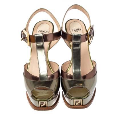 Fendi Metallic Tri Color Fendista Platform T-Bar Ankle Strap Sandals Size 36 360100 - 2