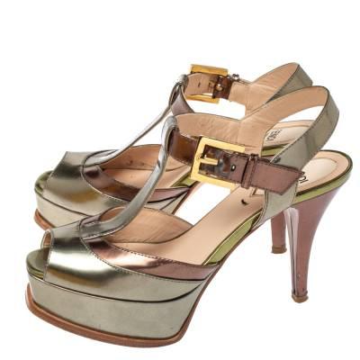 Fendi Metallic Tri Color Fendista Platform T-Bar Ankle Strap Sandals Size 36 360100 - 3