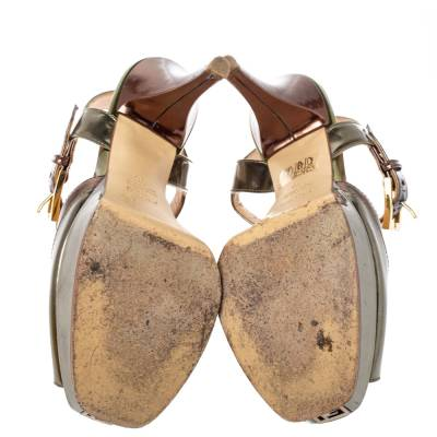 Fendi Metallic Tri Color Fendista Platform T-Bar Ankle Strap Sandals Size 36 360100 - 5